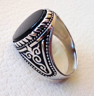 flat black onyx agate aqeeq stone arabic turkish ottoman style man ring all  sizes sterling silver 925 oval gem shape antique jewelry
