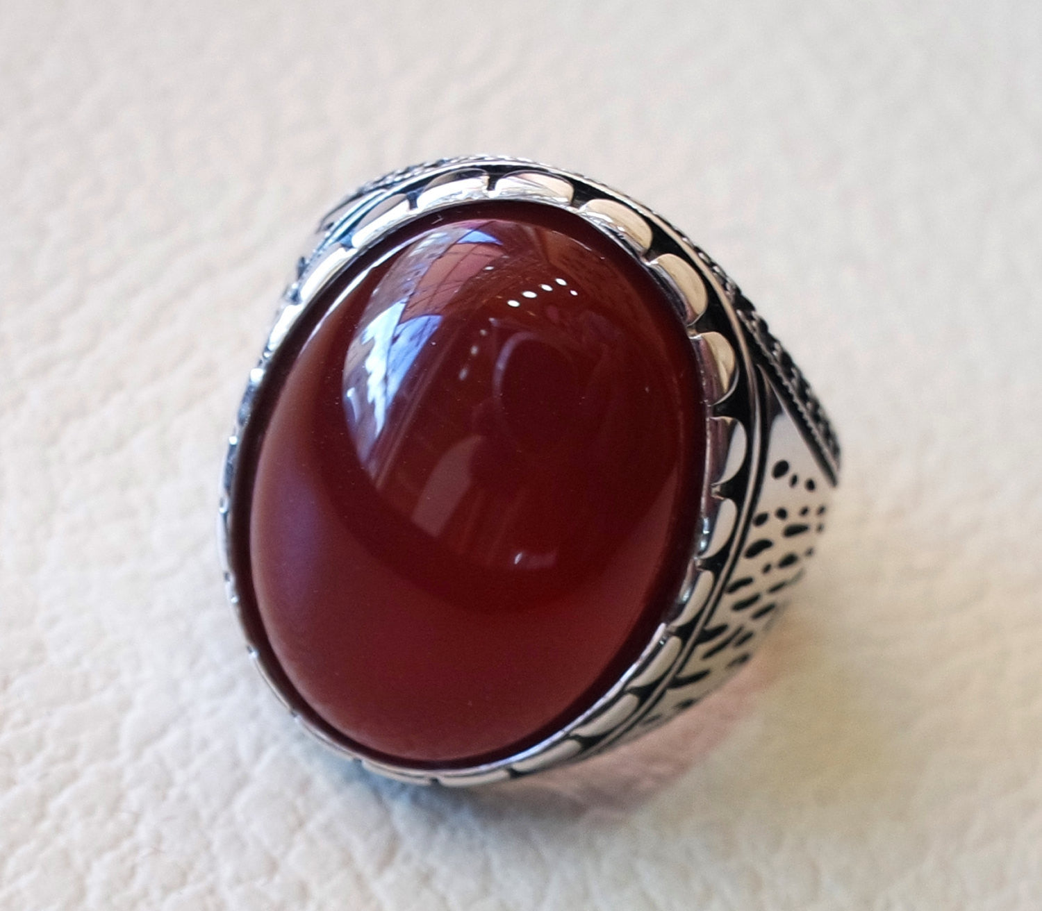 liver agate carnelian yemeni aqeeq ring sterling silver 925 dark red semi precious natural gemstone men jewelry any size middle eastern