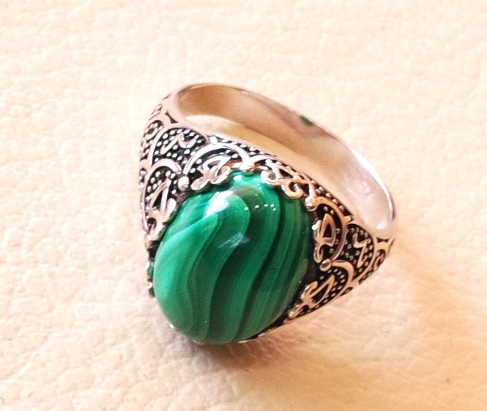 malachite green natural semi precious stunning cabochon gem oval stone man ring sterling silver 925  jewelry any size antique style
