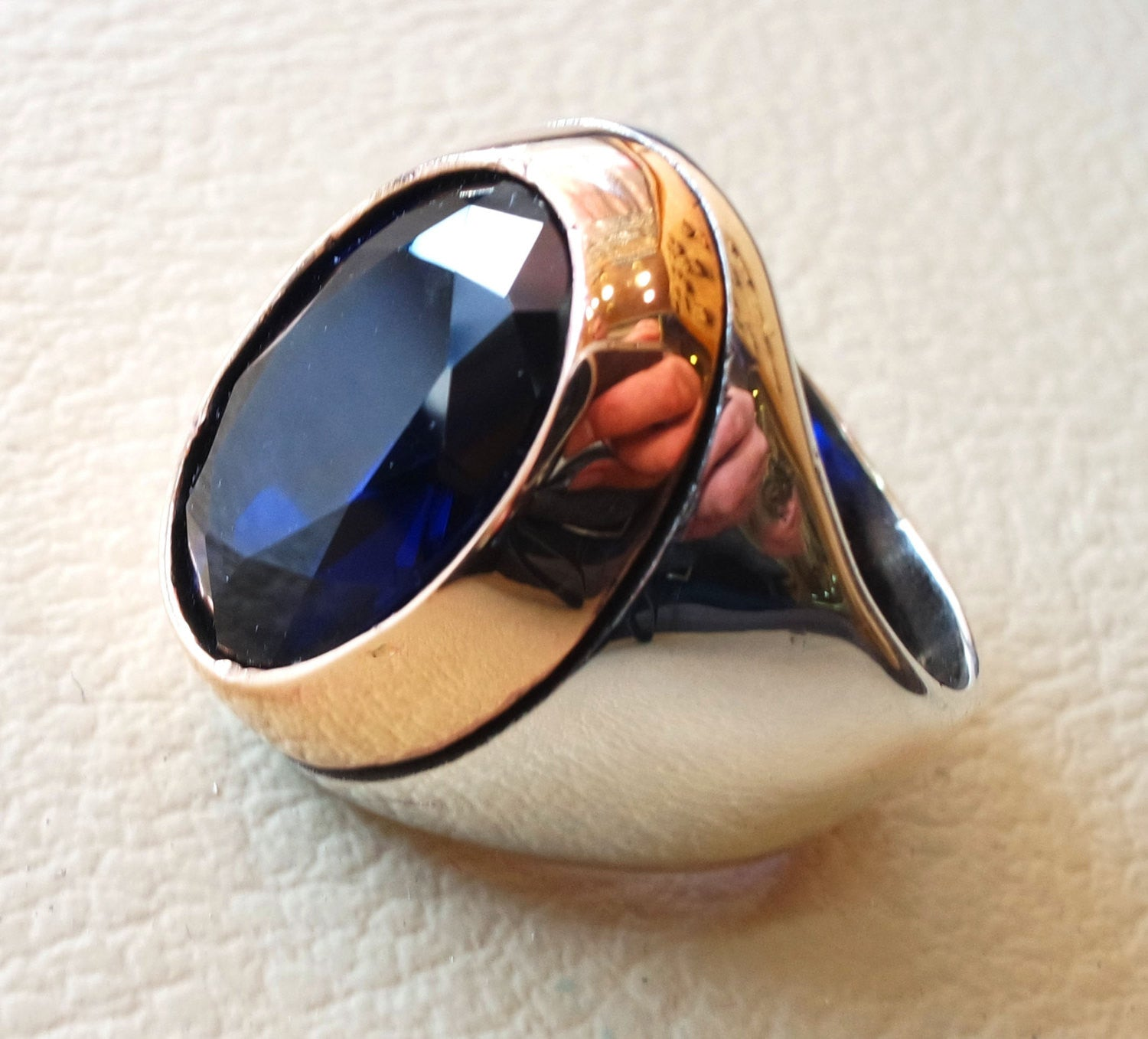 sapphire ring synthetic spinel stone identical to genuine gem men ring sterling silver 925 bronze frame huge gemstone any size jewelry