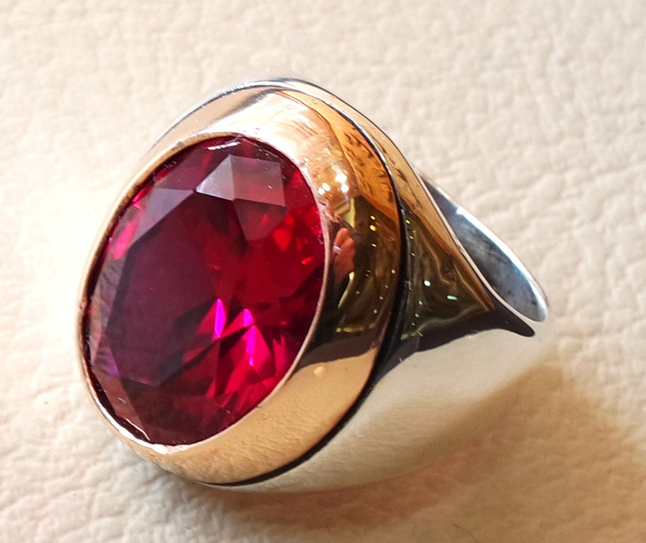 ruby identical synthetic stone high quality imitation corundum red color huge men ring sterling silver 925 any size bronze frame jewelry