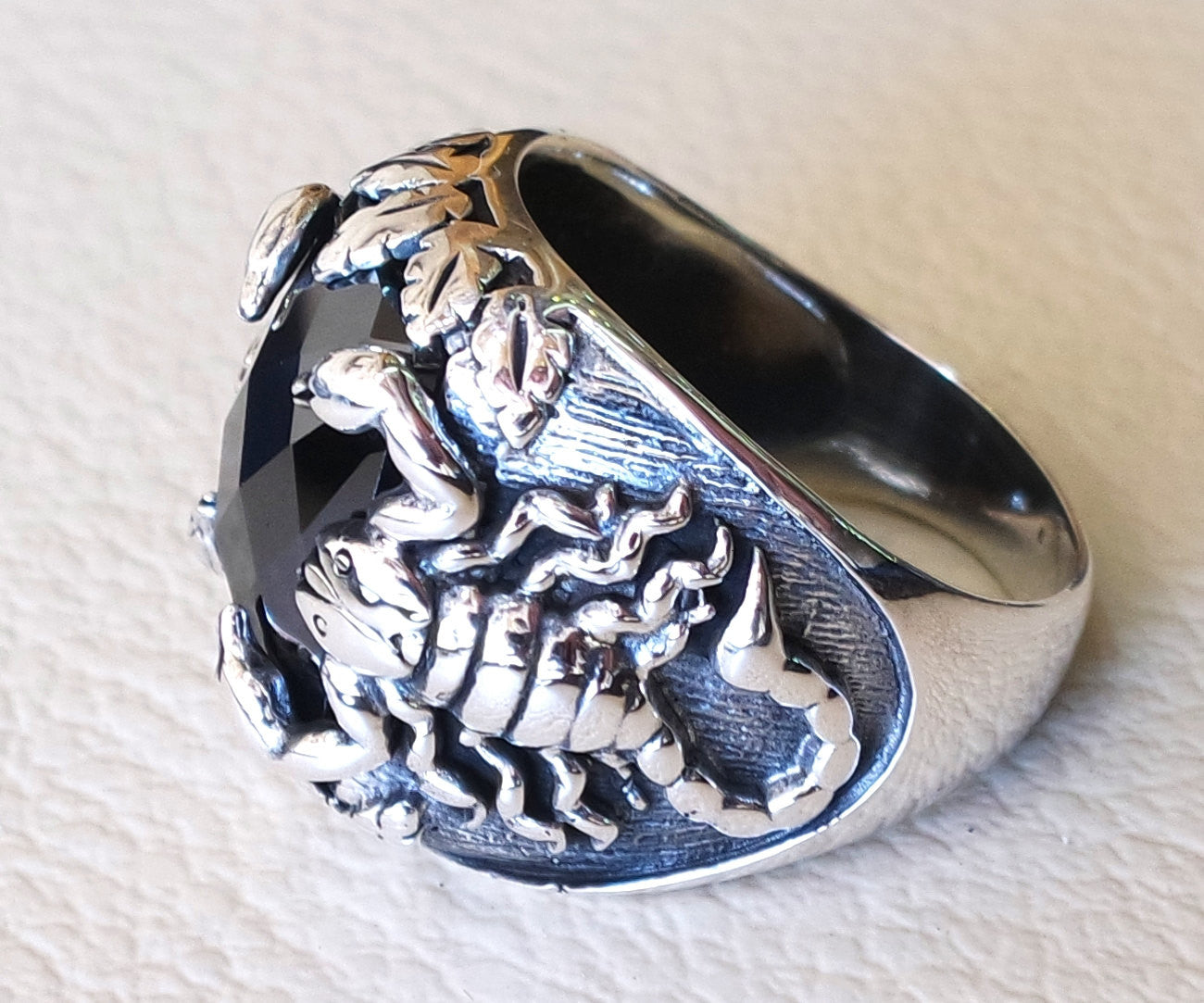 huge scorpion sterling silver 925 huge ring any size rectangular black onyx agate semi precious middle eastern vintage handmade jewelry