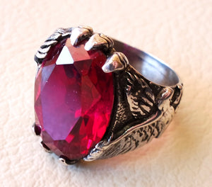 eagle man ring sterling silver 925 oval ruby imitation red synthetic corrundum stone all sizes jewelry gem identical to genuine high quality
