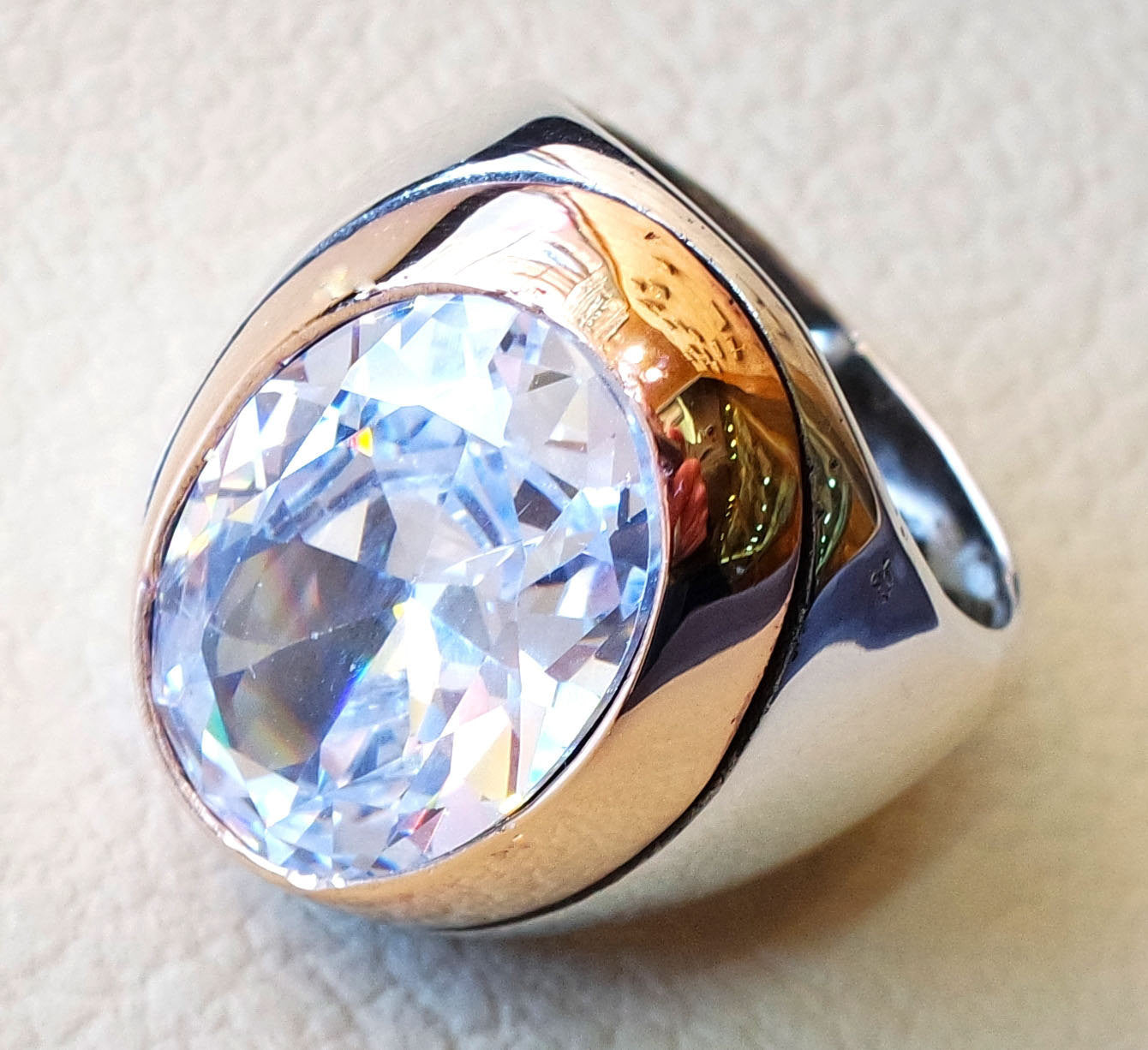 diamond synthetic stone high quality white color cubic zircon huge men ring sterling silver 925 any size bronze frame heavy jewelry