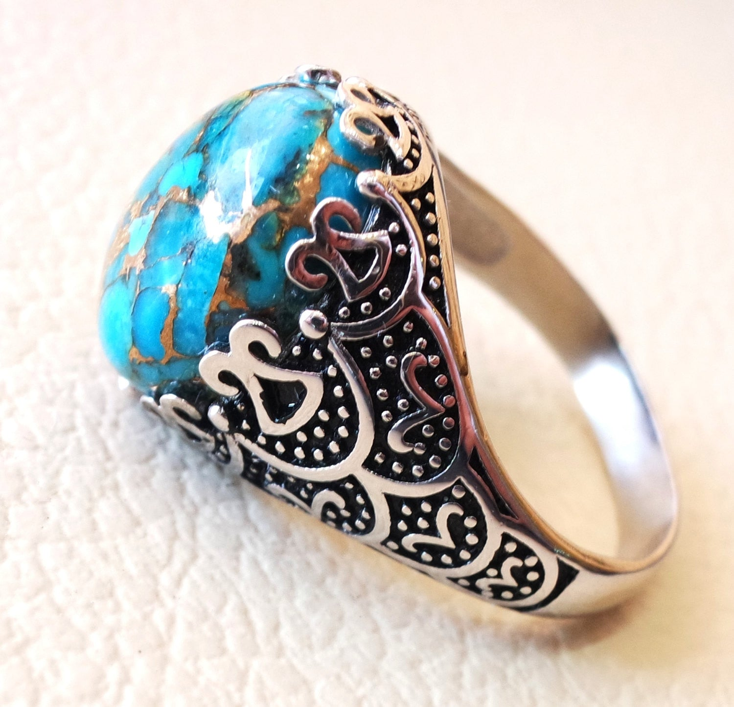 natural copper turquoise stone sterling silver 925 man ring blue semi precious high quality cabochon antique arabic ottoman style any size