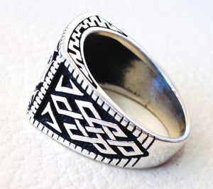 celtic sterling silver 925 heavy man ring rectangular shape any size antique style high quality jewelry