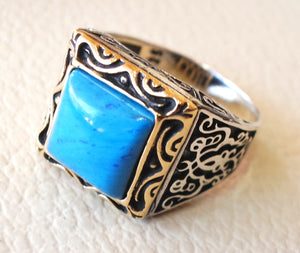 square synthetic turquoise blue stone heavy sterling silver 925 man ring bronze frame any size antique middle eastern ottoman style jewelry
