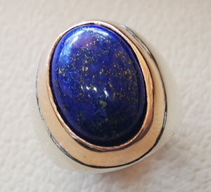 lapis lazuli oval cabochon natural blue stone ring bronze and sterling silver 925 men jewelry all sizes 18 * 13 mm ottoman middle eastern