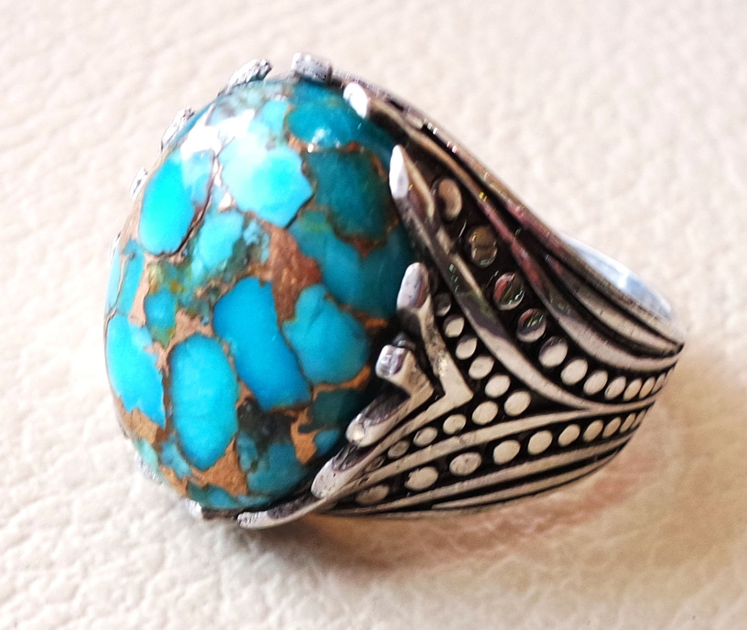 natural copper turquoise oval cabochon men ring sterling silver 925 all sizes jewelry arabic ottoman antique style high quality stone