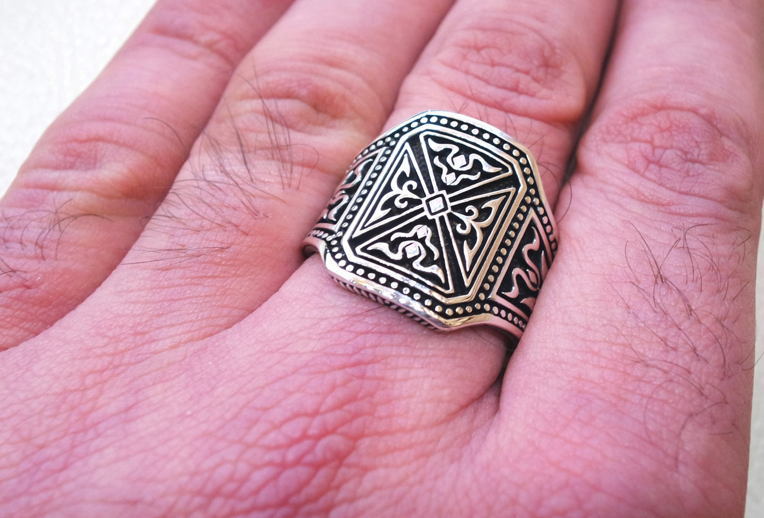 heavy wide man ring celtic sterling silver 925 heavy rectangular shape any size antique style high quality jewelry