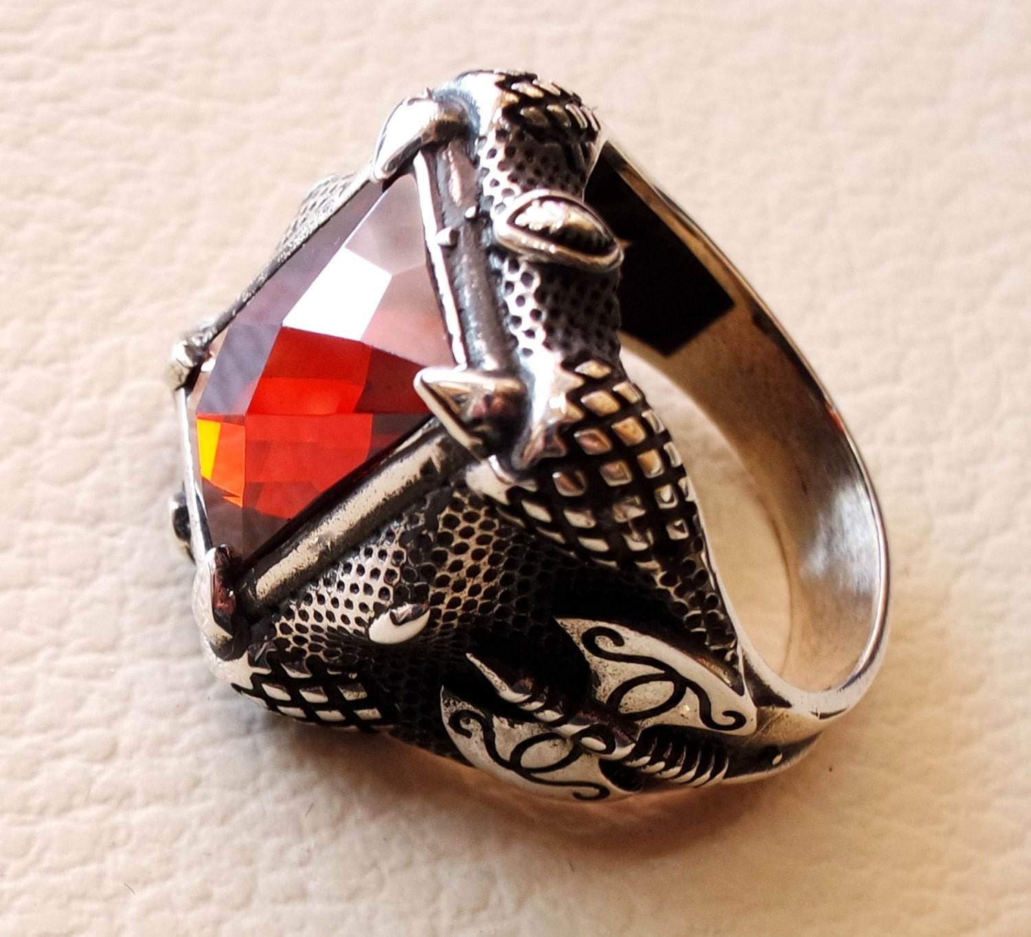 medieval axe ring red ruby color synthetic stone heavy huge man ring sterling silver 925 antique rectangular all sizes jewelry