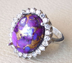 women ring copper purple turquoise entourage white cubic zircon sterling silver 925 all sizes highest quality natural oval cabochon stone