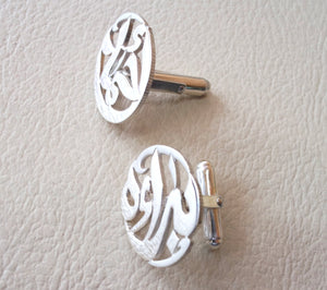 cufflinks , cuflinks 2 or 1 name calligraphy arabic customized any name made to order sterling silver 925 heavy men jewelry