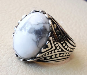 white turquoise natural agate oval cabochon stone men ring sterling silver 925 all sizes antique ottoman arabic style jewelry fast shipping