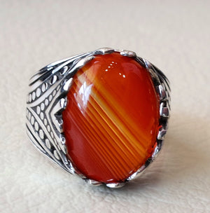 striped agate aqeeq stone red carnelian semi precious men ring all sizes antique ottoman middle eastern jewelry oval cabochon fast shipping