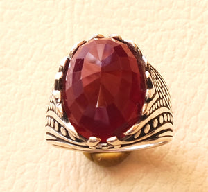russet burgundy color reddish faceted oval stone man ring sterling silver 925 any size fast shipping antique eastern ottoman style jewelry
