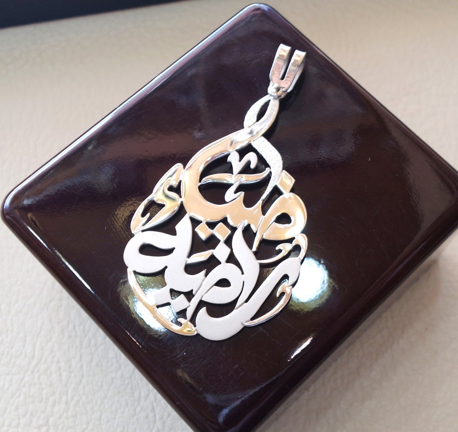 huge pendant any two names arabic made to order customized sterling silver 925 high quality polishing big size pear shape تعليقه اسماء عربي