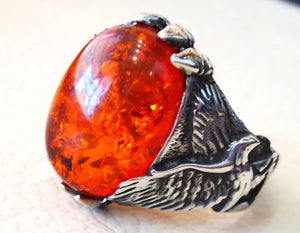 Baltic amber high quality imitation stone identical to genuine eagle man ring sterling silver 925 all sizes fast shipping animal jewelry