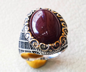 liver agate aqeeq ring sterling silver 925 ring any size antique middle eastern style dark carnelian semi precious natural cabochon عقيق