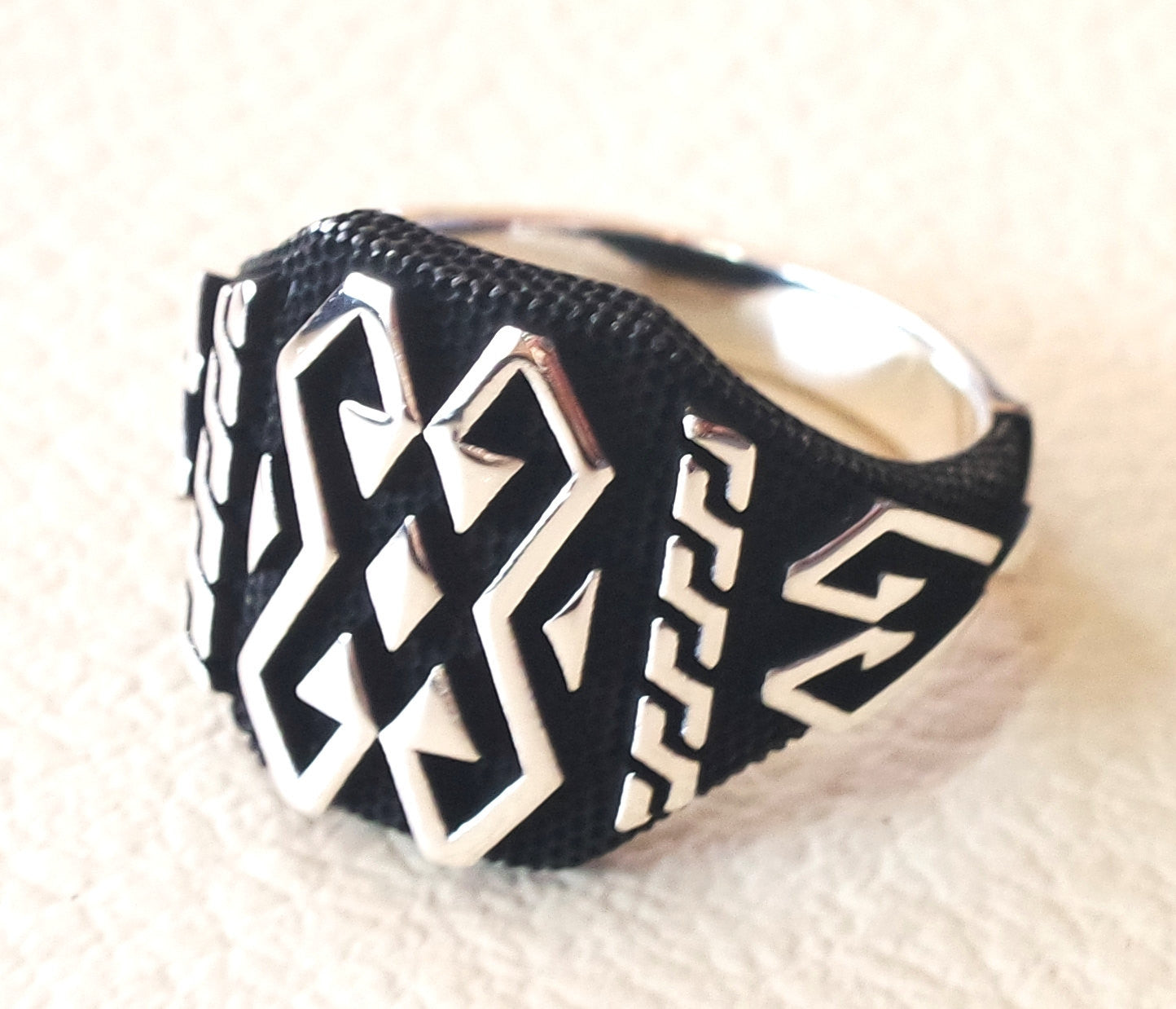 man ring celtic sterling silver 925 heavy rectangular shape any size antique style high quality jewelry