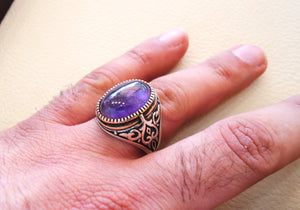 amethyst agate natural stone sterling silver 925 man ring vintage arabic turkish ottoman style jewelry oval purple gem all sizes bronze