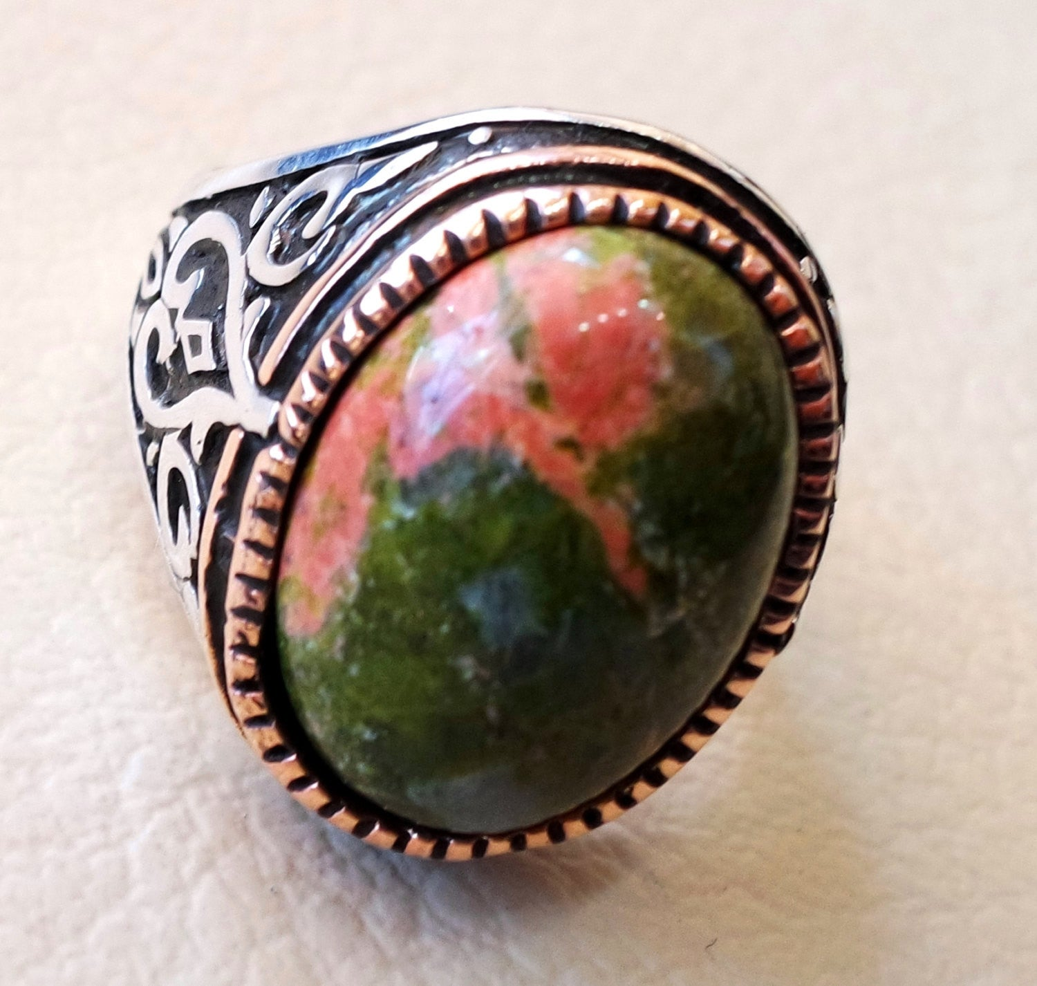 unakite natural multi color stone oval cabochon sterling silver 925 men ring bronze frame orange green red semi precious jewelry ottoman