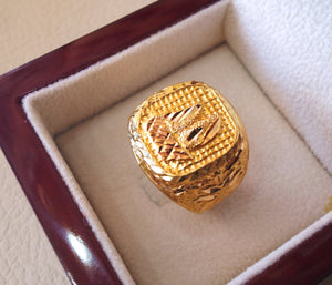 Twenty one karat 21 k gold heavy man ring ship rectangular all sizes middle eastern style fine jewelry full insured shipping and box