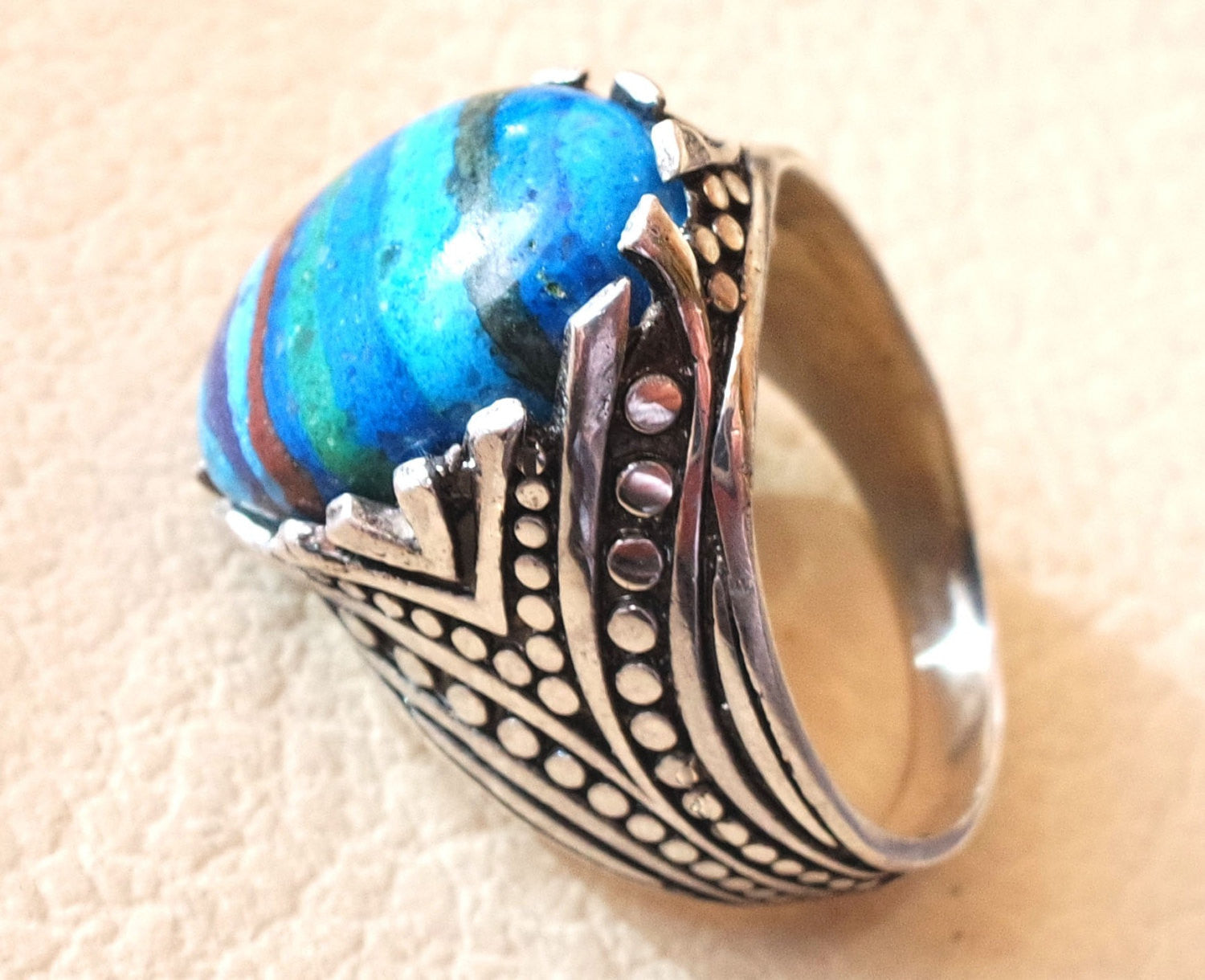 natural rainbow Calsilica colorful semi precious stone sterling silver 925 man ring any size blue red purple light dark high quality gem