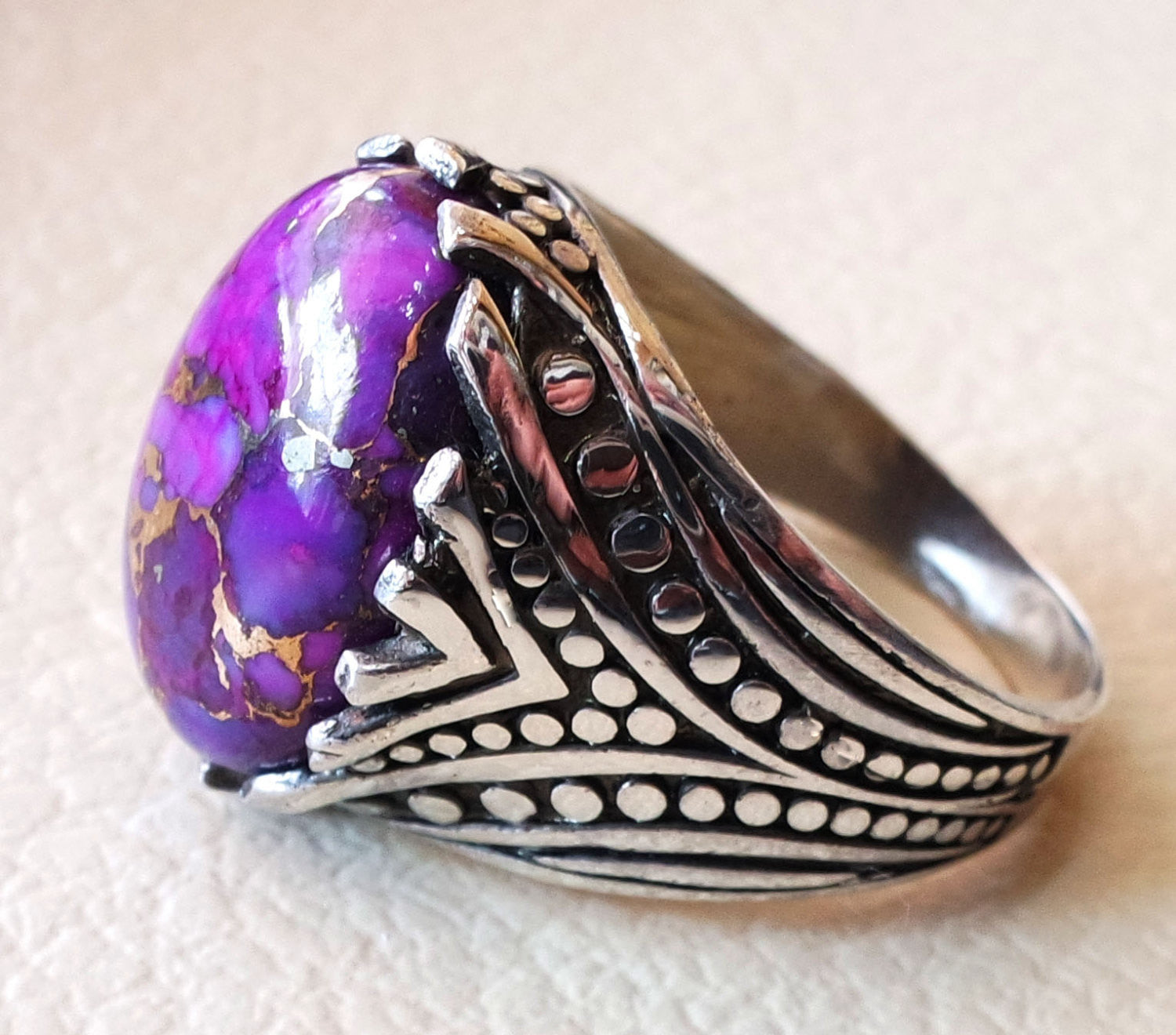 purple copper mohave turquoise top quality semi precious natural stone sterling silver 925 men ring turkish arabic style jewelry all sizes
