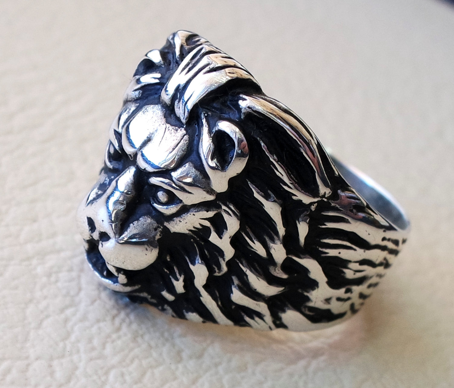 lion ring heavy sterling silver 925 man biker ring all sizes handmade animal head jewelry fast shipping detailed craftsmanship