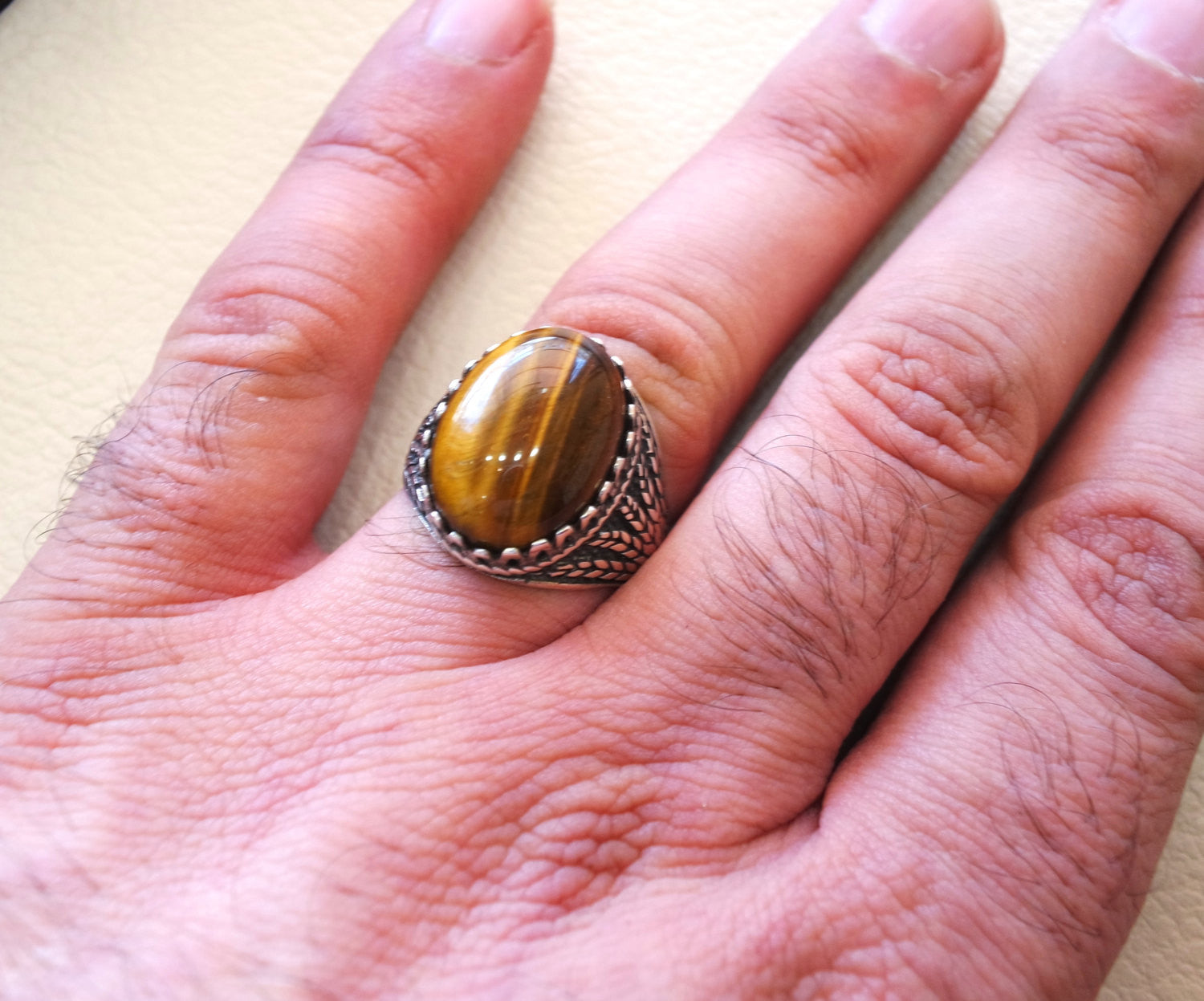 tiger eye semi precious natural stone men ring sterling silver 925 and bronze jewelry handmade arabic turkey ottoman style any size