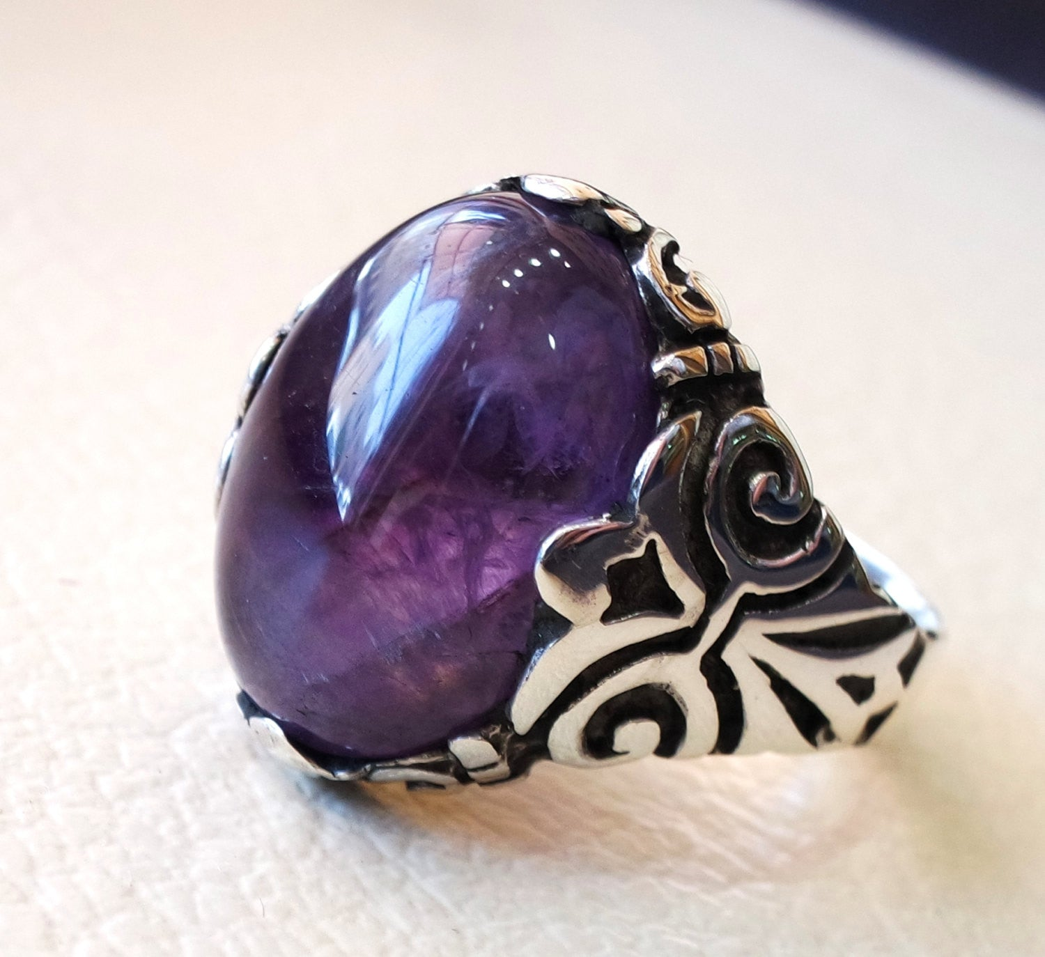 amethyst agate natural cabochon sterling silver 925 men ring vintage arabic turkish ottoman antique style jewelry oval purple gem all sizes