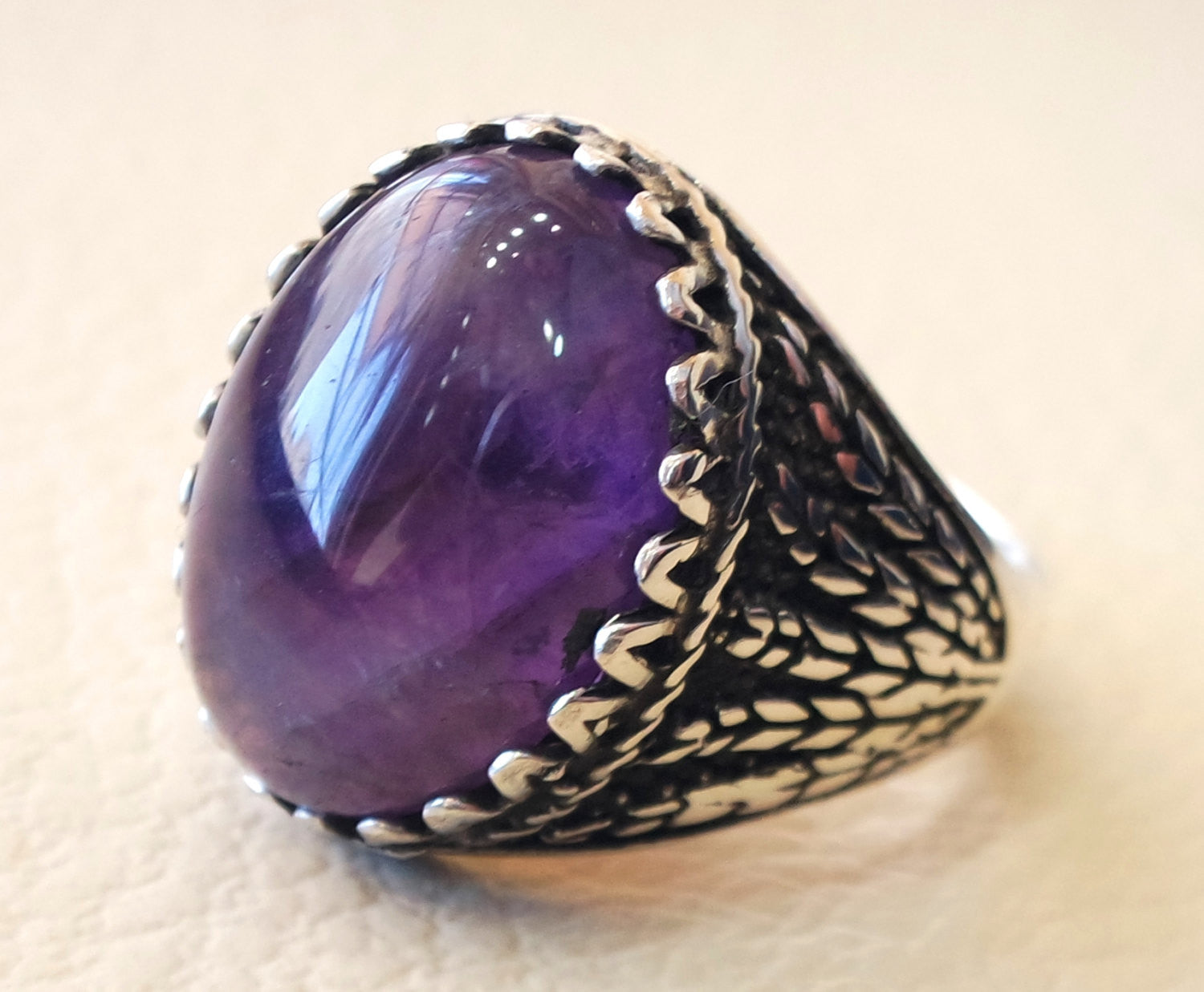 amethyst agate natural purple stone silver 925 men ring vintage arabic turkish ottoman antique style man jewelry oval cabochon all sizes