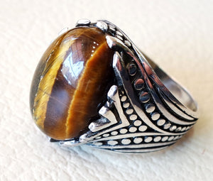 cat eye tiger eye semi precious natural cabochon stone men ring sterling silver 925 any size ottoman turkish middle eastern arabic jewelry