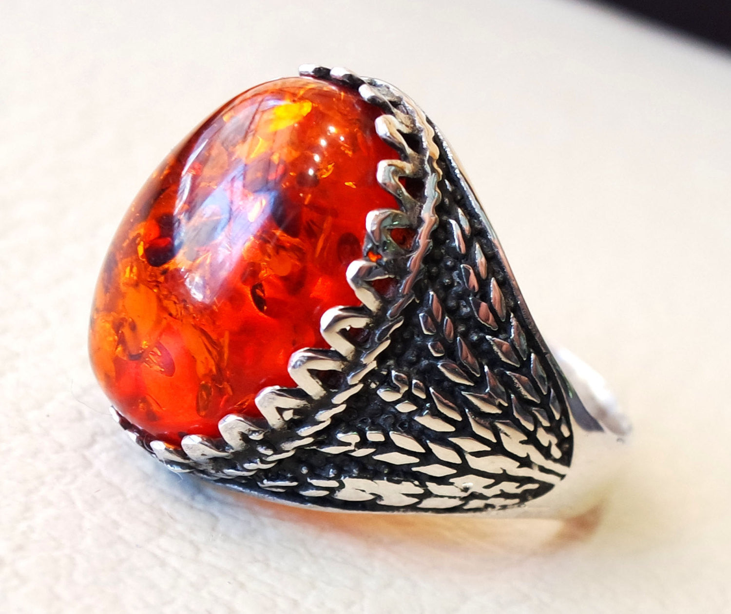 Baltic amber oval stone huge two tone man ring sterling silver 925 antique jewelry sizes fast shipping imitation stone identical to genuine