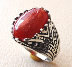 aqeeq ring sterling silver red stone carnelian agate men jewelry natural cabochon arabic turkey middle eastern ottoman style all sizes عقيق