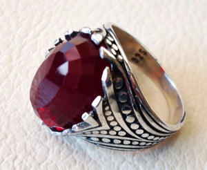 red ruby color faceted cabochon stone man ring sterling silver 925 all sizes high quality jewelry ottoman middle eastern antique style
