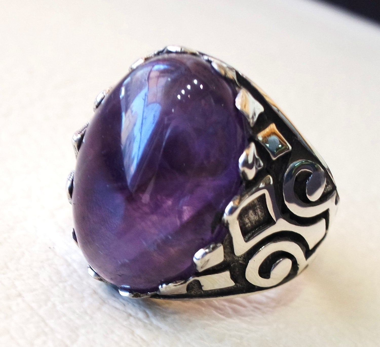 natural amethyst agate purple stone silver 925 men ring  arabic turkish ottoman antique style man jewelry cabochon all sizes fast shipping