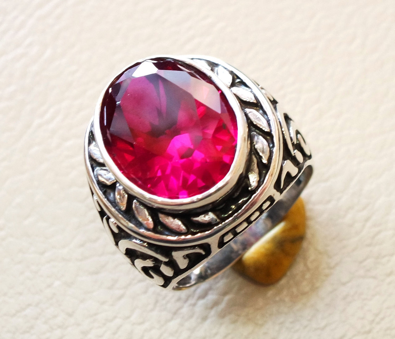 ruby identical synthetic stone high quality imitation corundum red color huge heavy men ring sterling silver 925 any size ottoman jewelry