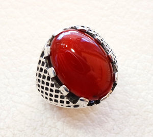 aqeeq natural liver agate carnelian semi precious kabadi stone oval red cabochon man ring sterling silver arabic middle eastern turkey style