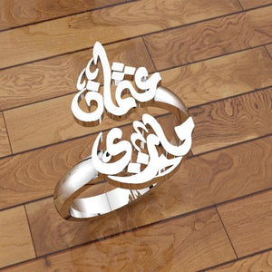 Arabic calligraphy customized 2 names sterling silver 925 or 18 k yellow gold ring , fit all sizes any name خاتم اسماء عربي RE1001