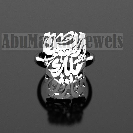 Arabic calligraphy customized 2 - 4 names sterling silver 925 or 18 k yellow gold ring , fit all sizes any name خاتم اسماء عربي RE1003
