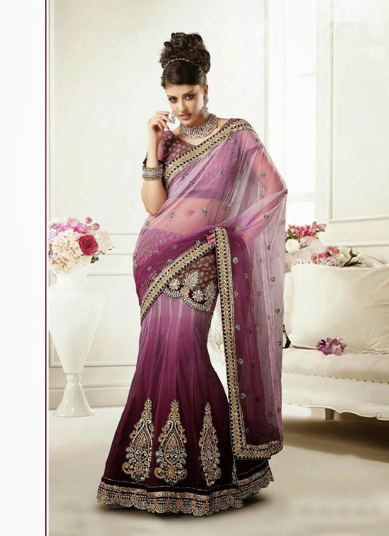 Pink Shaded Nice Contrast Color Combination Net Material