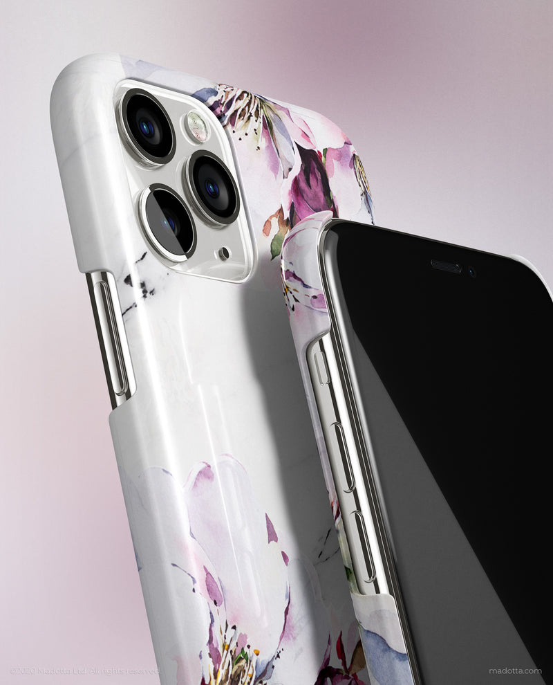Spring Blossoms x White Marble iPhone Case