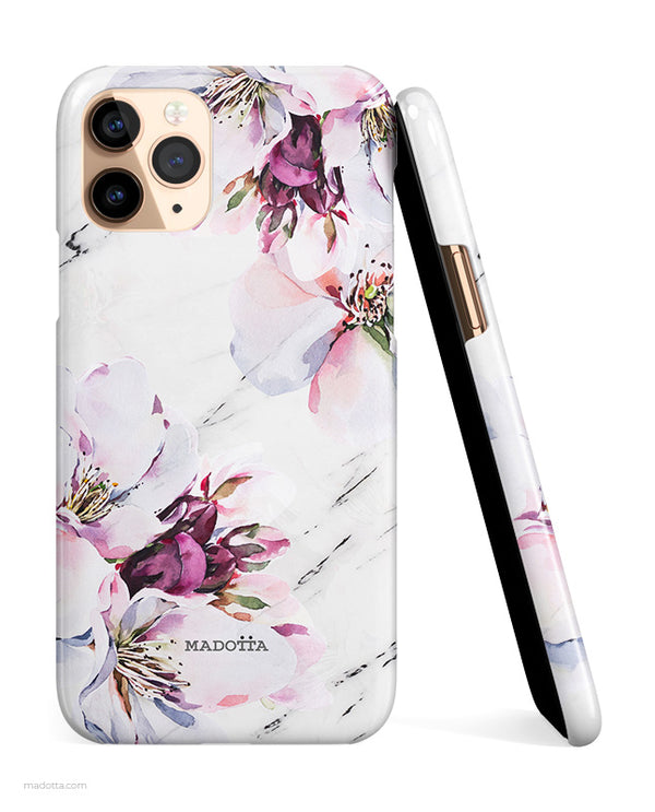 Spring Blossoms x White Marble iPhone Case hide