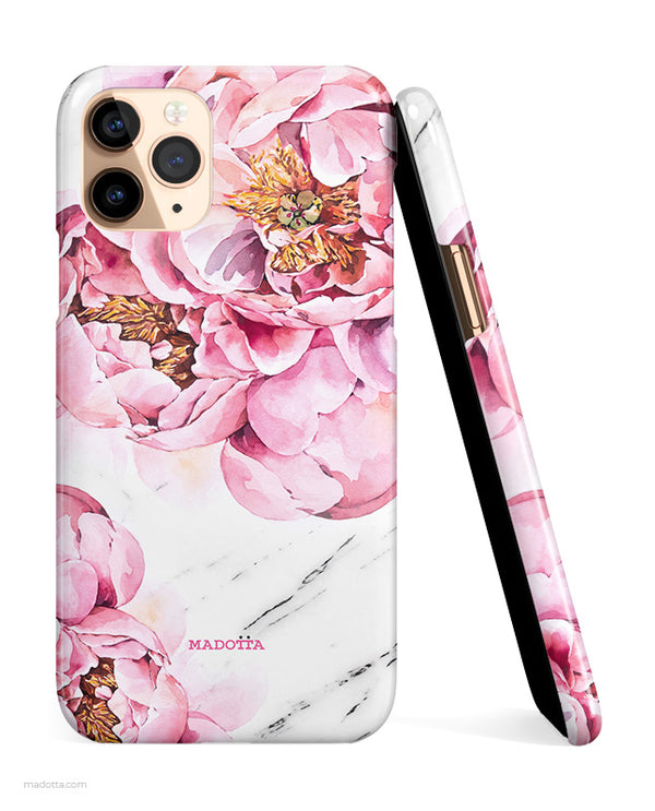 Pink Peony x White Marble iPhone Case hide