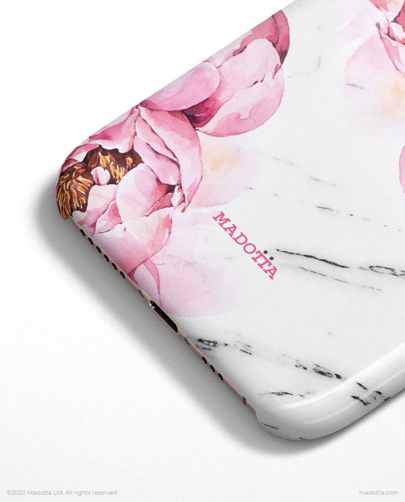 Pink Peony x White Marble iPhone Case