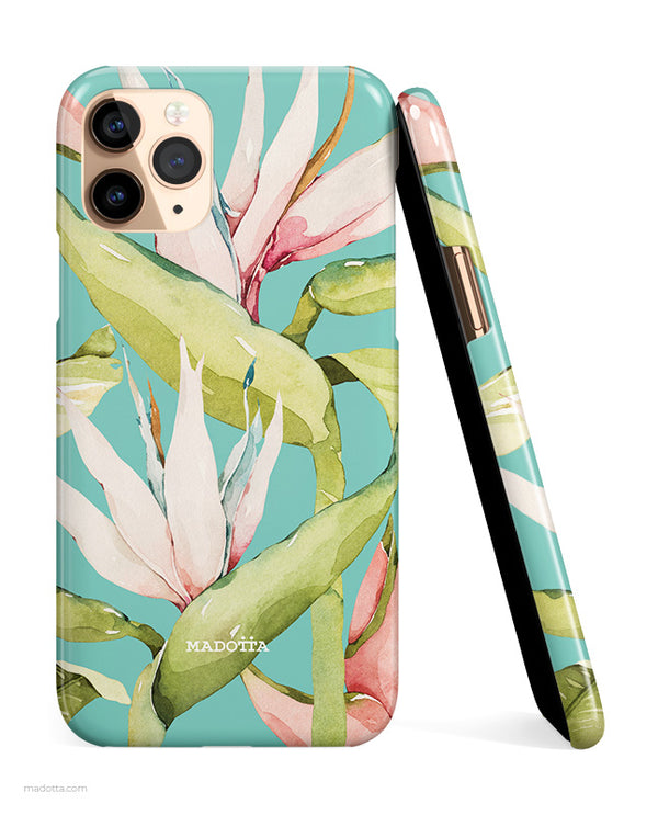 Teal Tropical Flowers Bird of Paradise iPhone Case hide