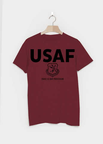 USAF Military T-shirt - Burgundy - Tell No One - Dr Strangelove, January 2016