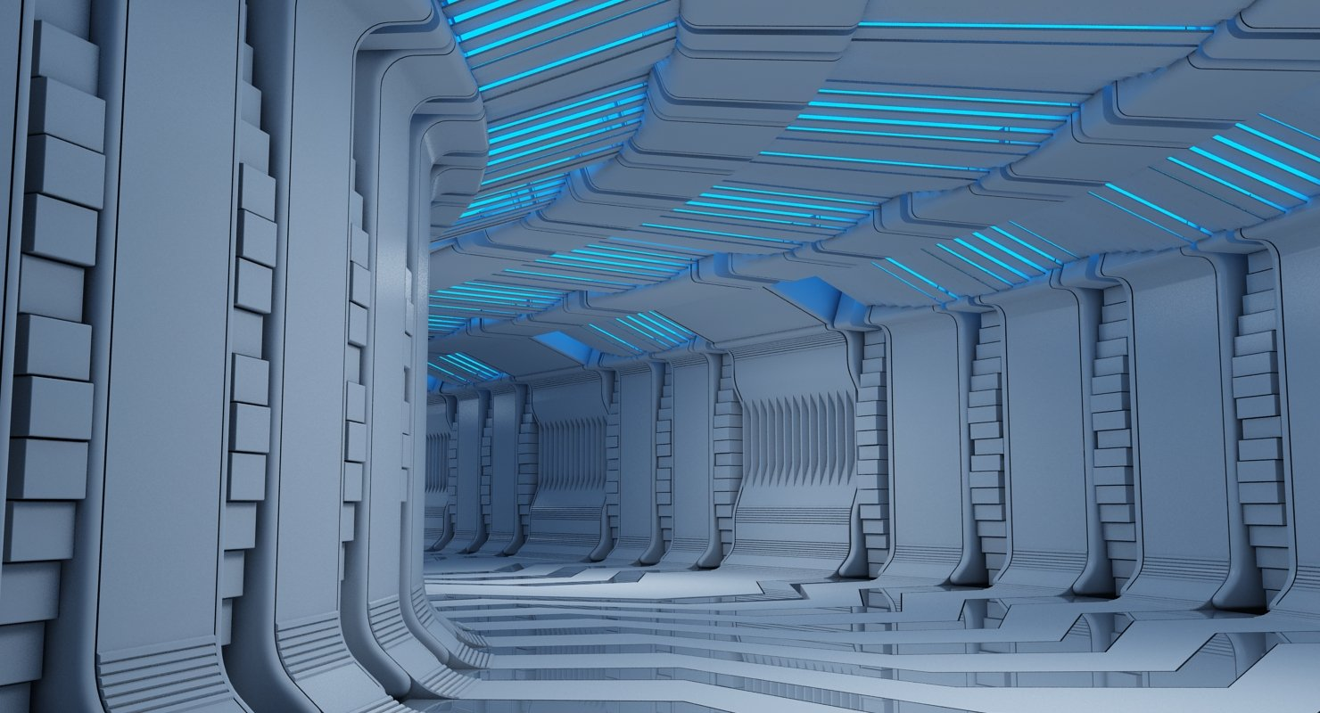 Futuristic Tunnel 9 3D Model - WireCASE